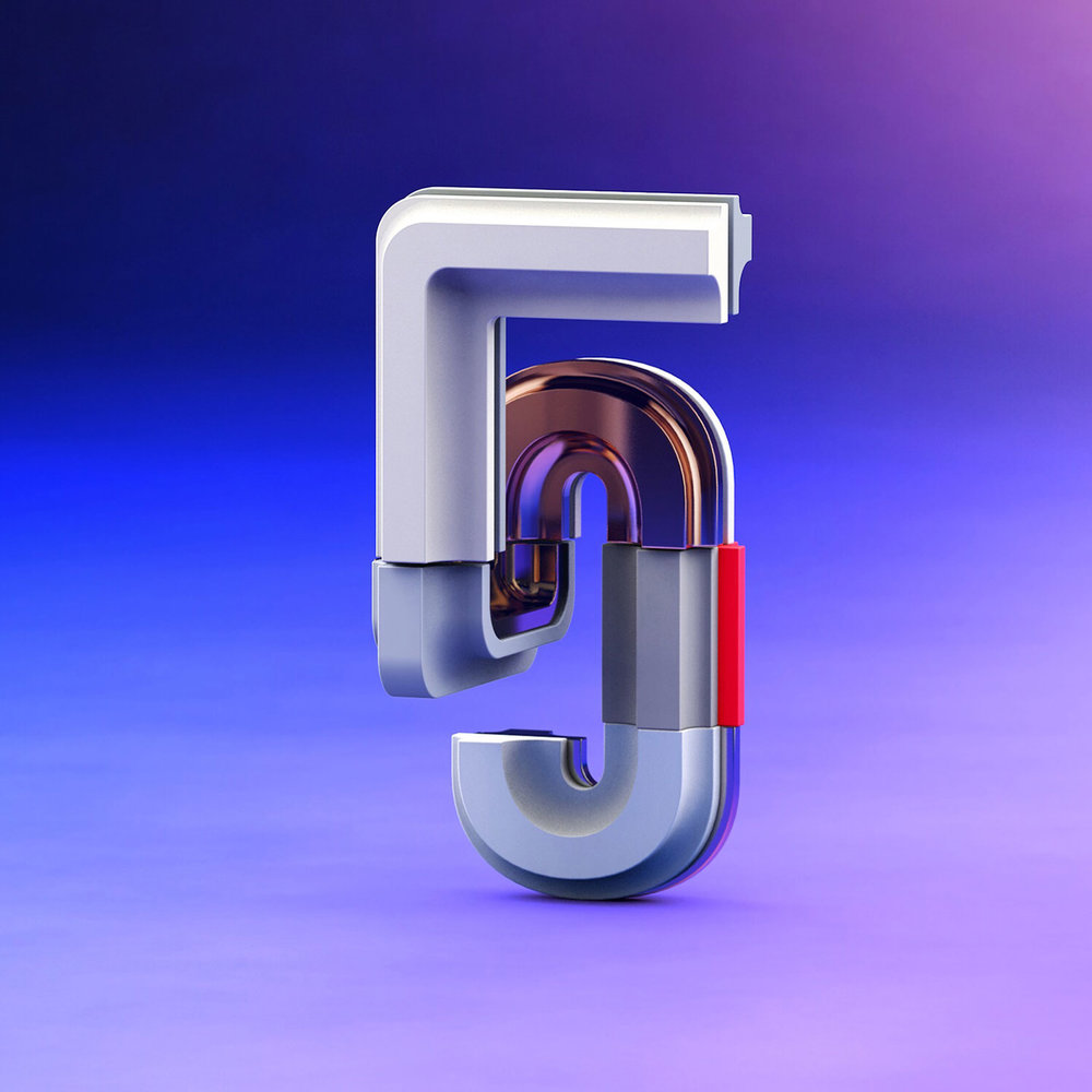 36 Days of Type 2017 - 3D number 5 design visual.