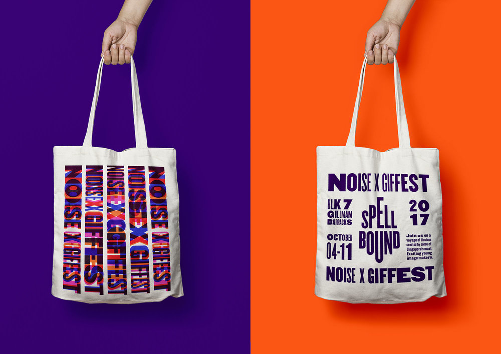 GIF Fest SG festival branding identity - Typographic tote bag design applications.