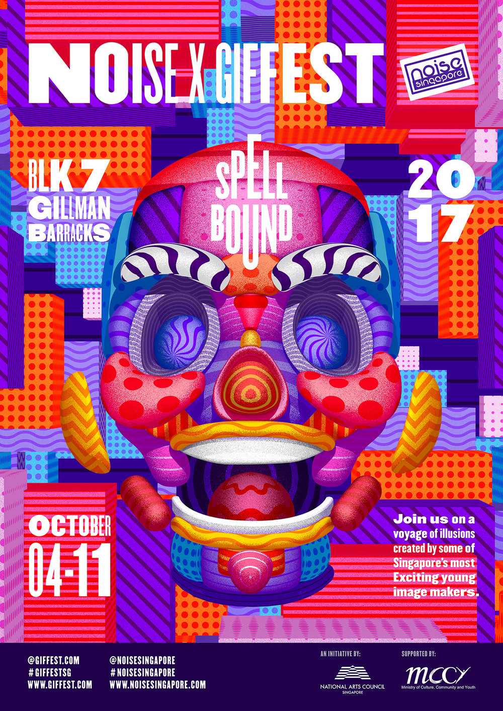 GIF Fest SG festival branding identity - Event poster for exhibition at Gillman Barracks, Singapore.