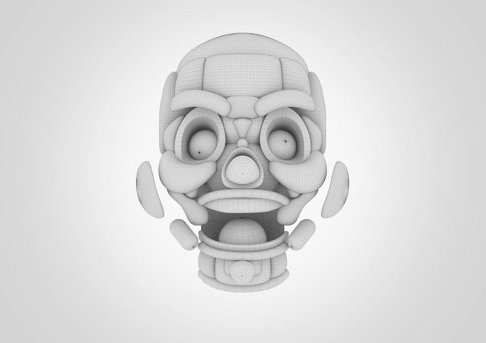 GIF Fest SG festival branding identity - Wire-frame mask design for key visual.