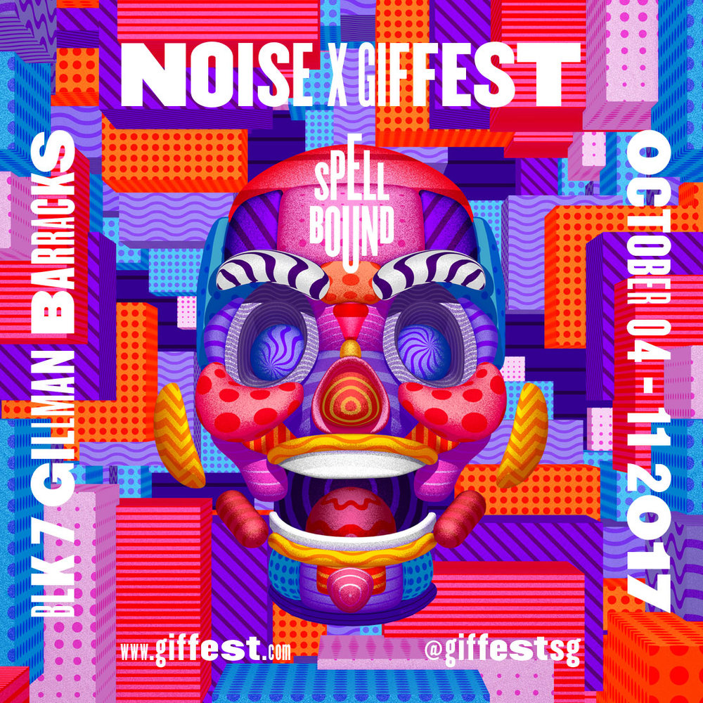 GIF Fest SG festival branding identity - Square flyer design graphic for social media.