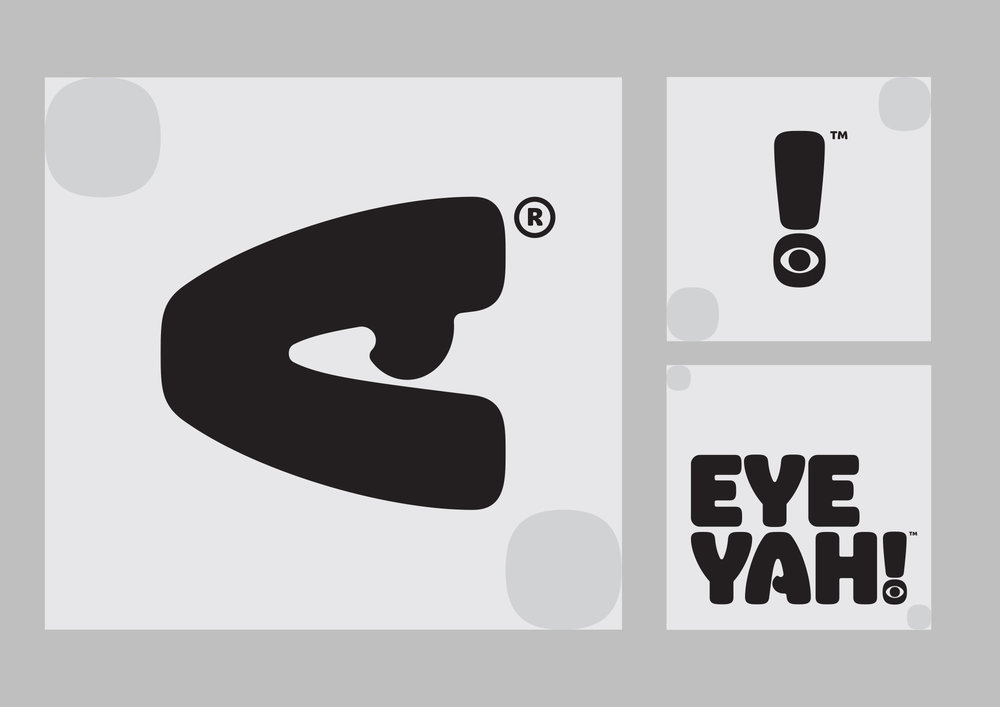 Identity design for EYEYAH! Logo clear space and social media avatars.