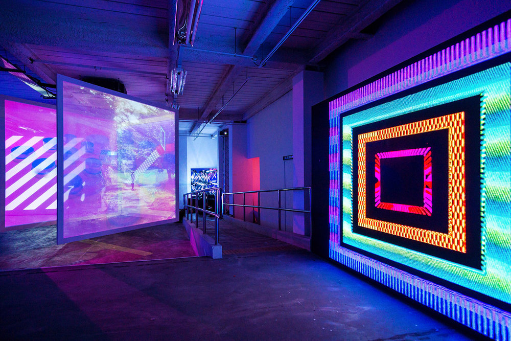 LED wall and hanging projections