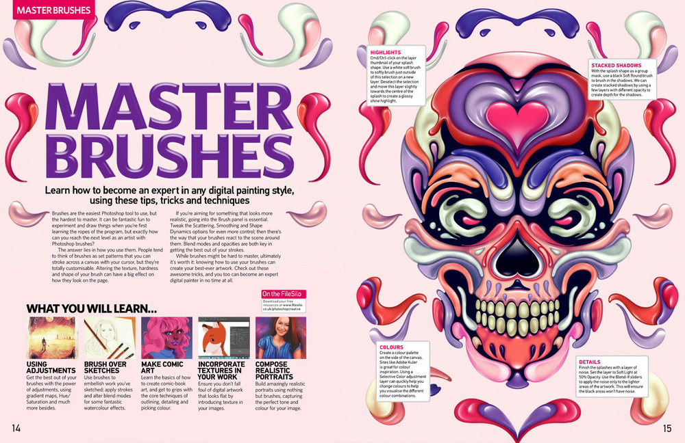 Photoshop Creative Magazine issue 153 spread illustration by Singapore based brand strategy and creative design consultancy, BÜRO UFHO.