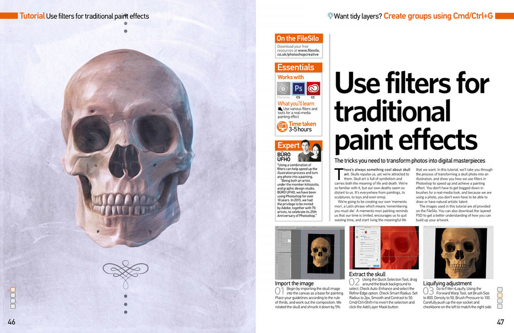 Graphic skull Photoshop brush illustration design by Singapore based brand strategy and creative design consultancy, BÜRO UFHO.