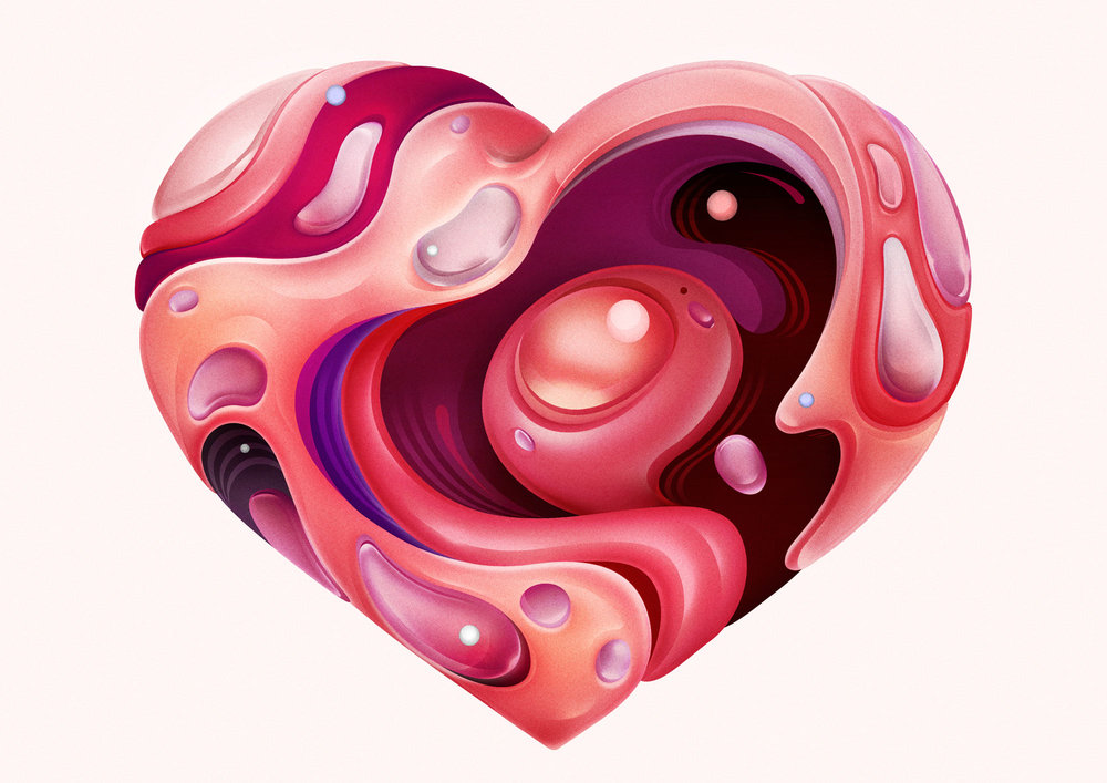 Dynamic Heart shape LOVE illustration design by Singapore based brand strategy and creative design consultancy, BÜRO UFHO.