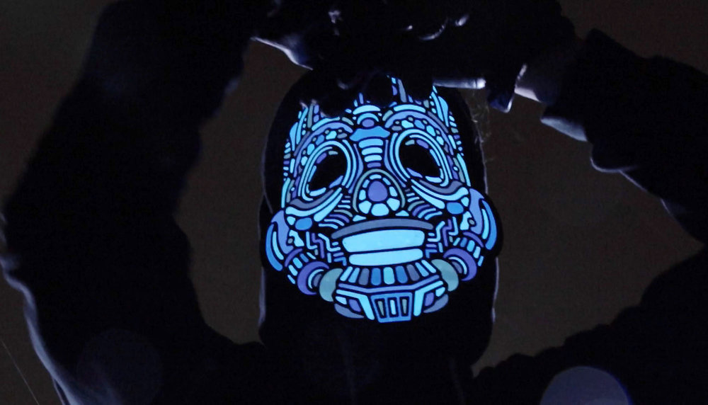 Kickstarter LED light up graphic mask design - Y,Robot.