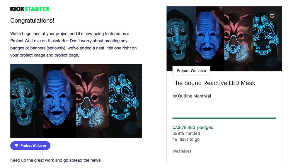 Outline Montreal's LED light up mask campaign on crowd-funding site Kickstarter.