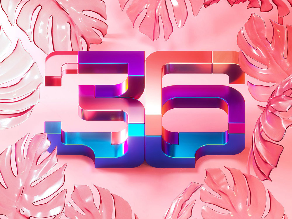 36 Days of Type 2018 - 3D numbers 36 visual.