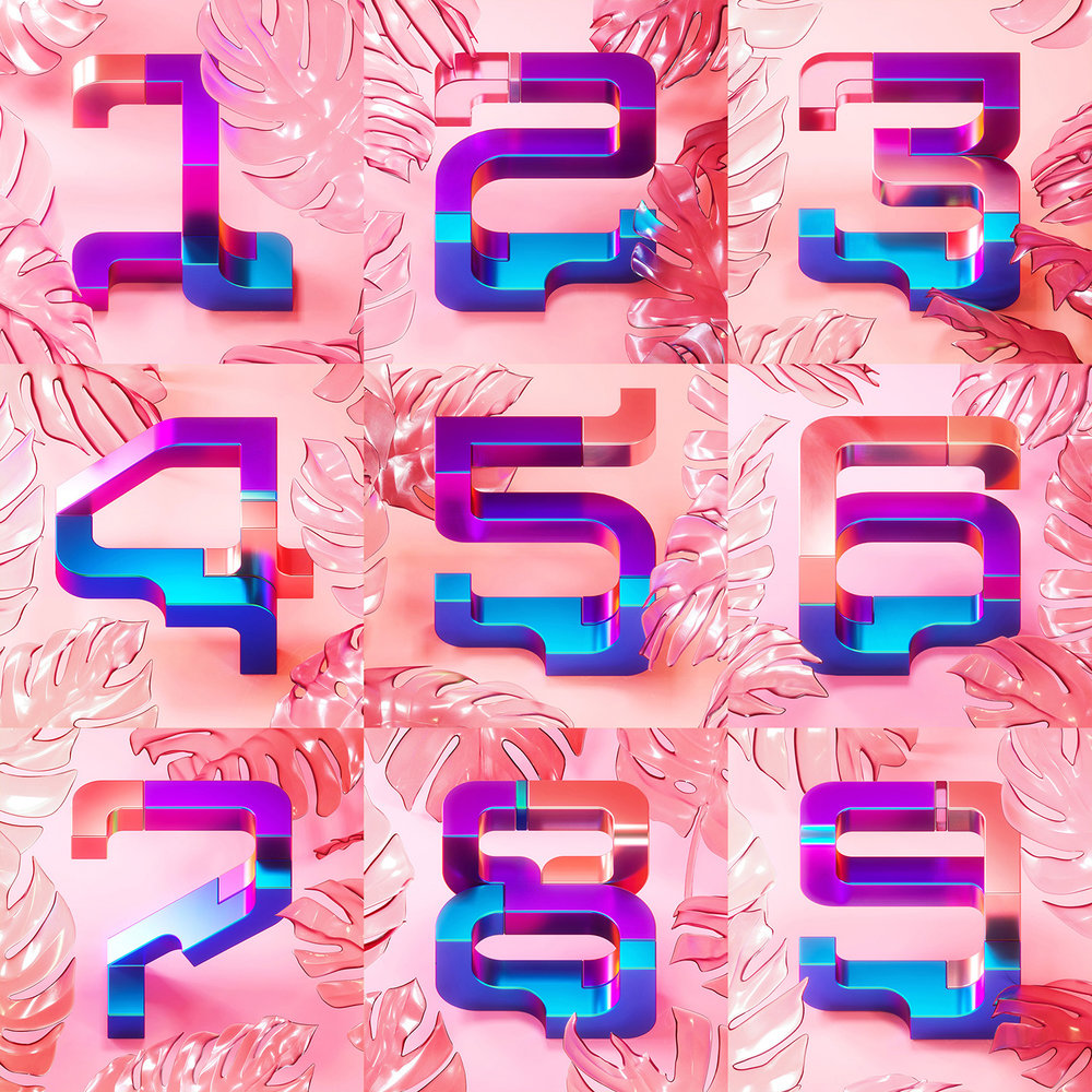 36 Days of Type 2018 - 3D number 0 to 9 visuals by Singapore based brand strategy and creative design consultancy, BÜRO UFHO.