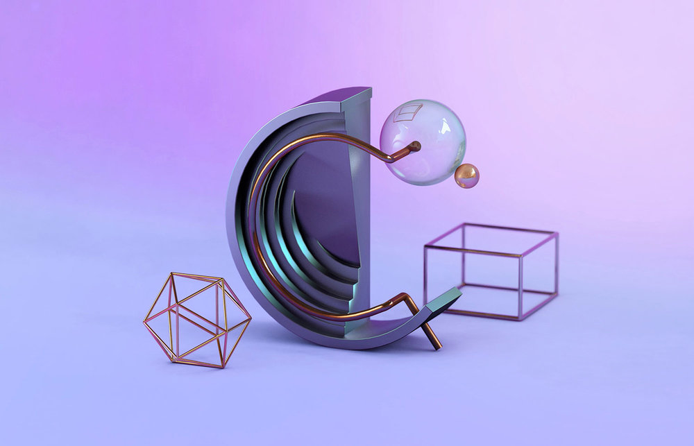 36 Days of Type 2018 - 3D letter C visual.