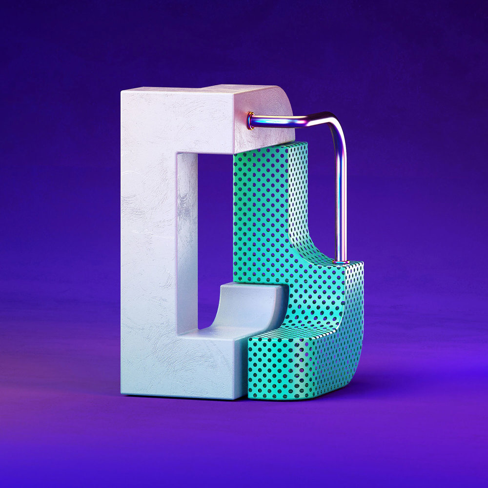 36 Days of Type 2018 - 3D letter D visual.