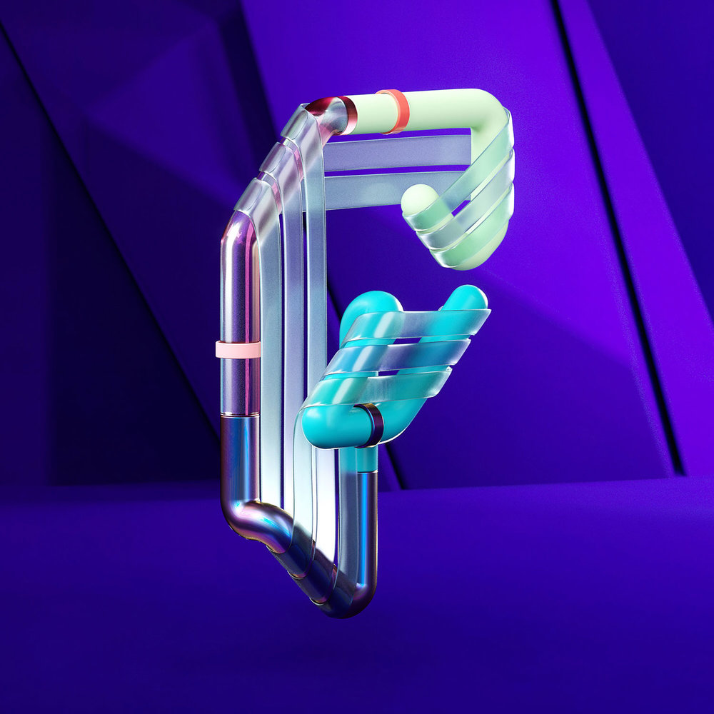 36 Days of Type 2018 - 3D letter F visual.