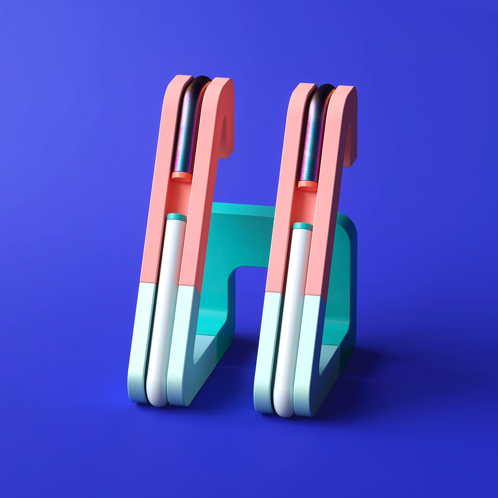 36 Days of Type 2018 - 3D letter H visual.