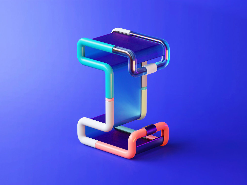 36 Days of Type 2018 - 3D letter I visual.