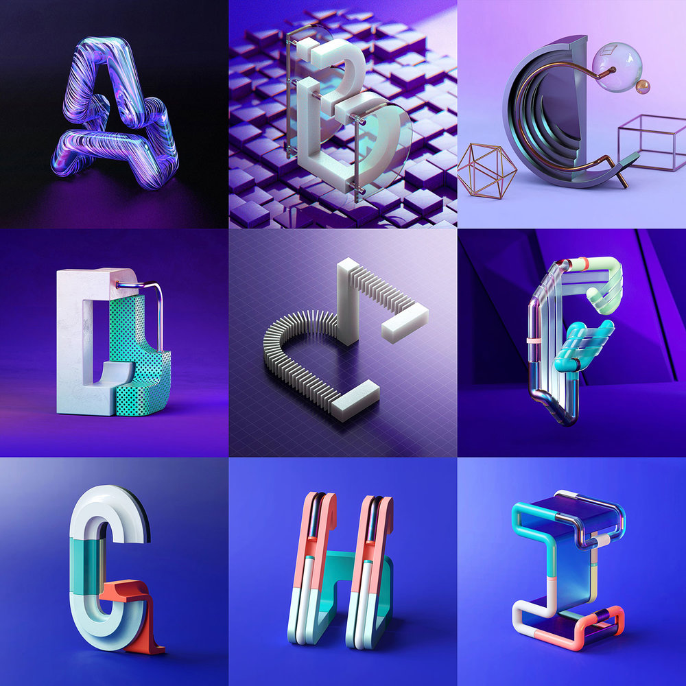 36 Days of Type 2018 - 3D letter A to I visuals by Singapore based brand strategy and creative design consultancy, BÜRO UFHO.