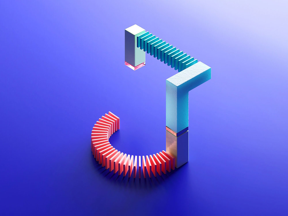 36 Days of Type 2018 - 3D letter J visual.