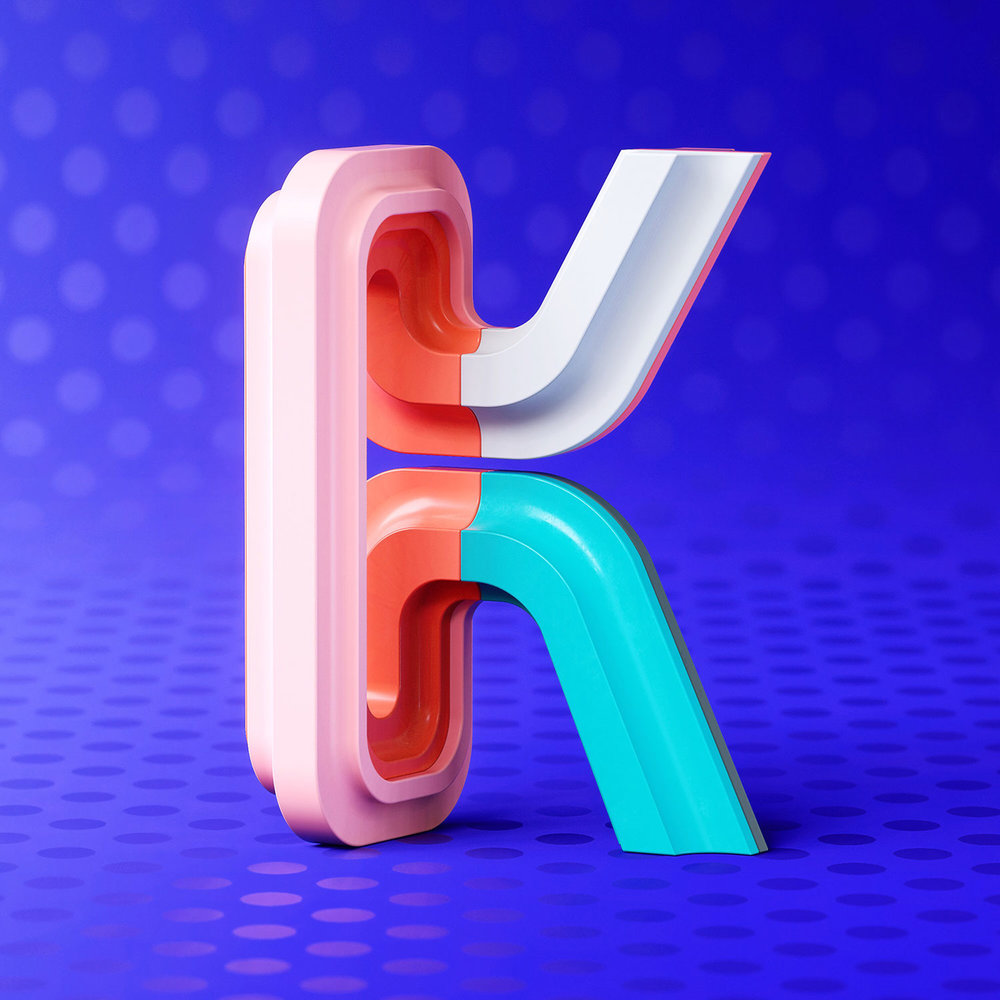 36 Days of Type 2018 - 3D letter K visual.