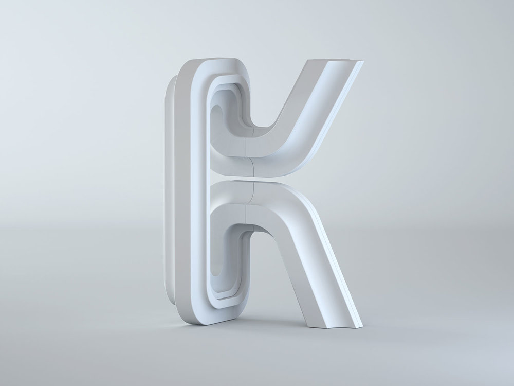 36 Days of Type 2018 - 3D letter K visual clay model.