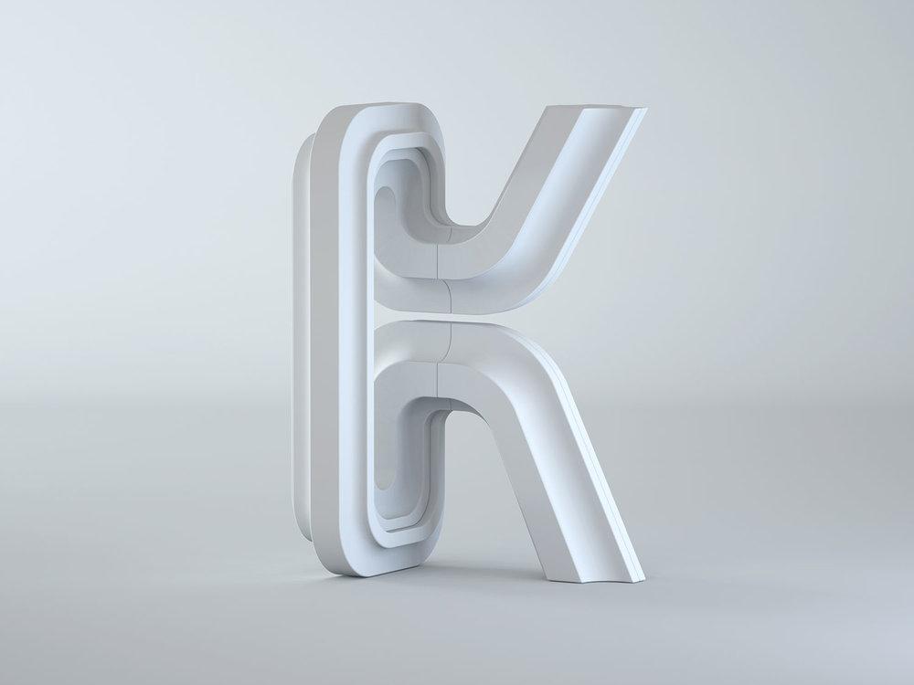 Letter K - Clay model.