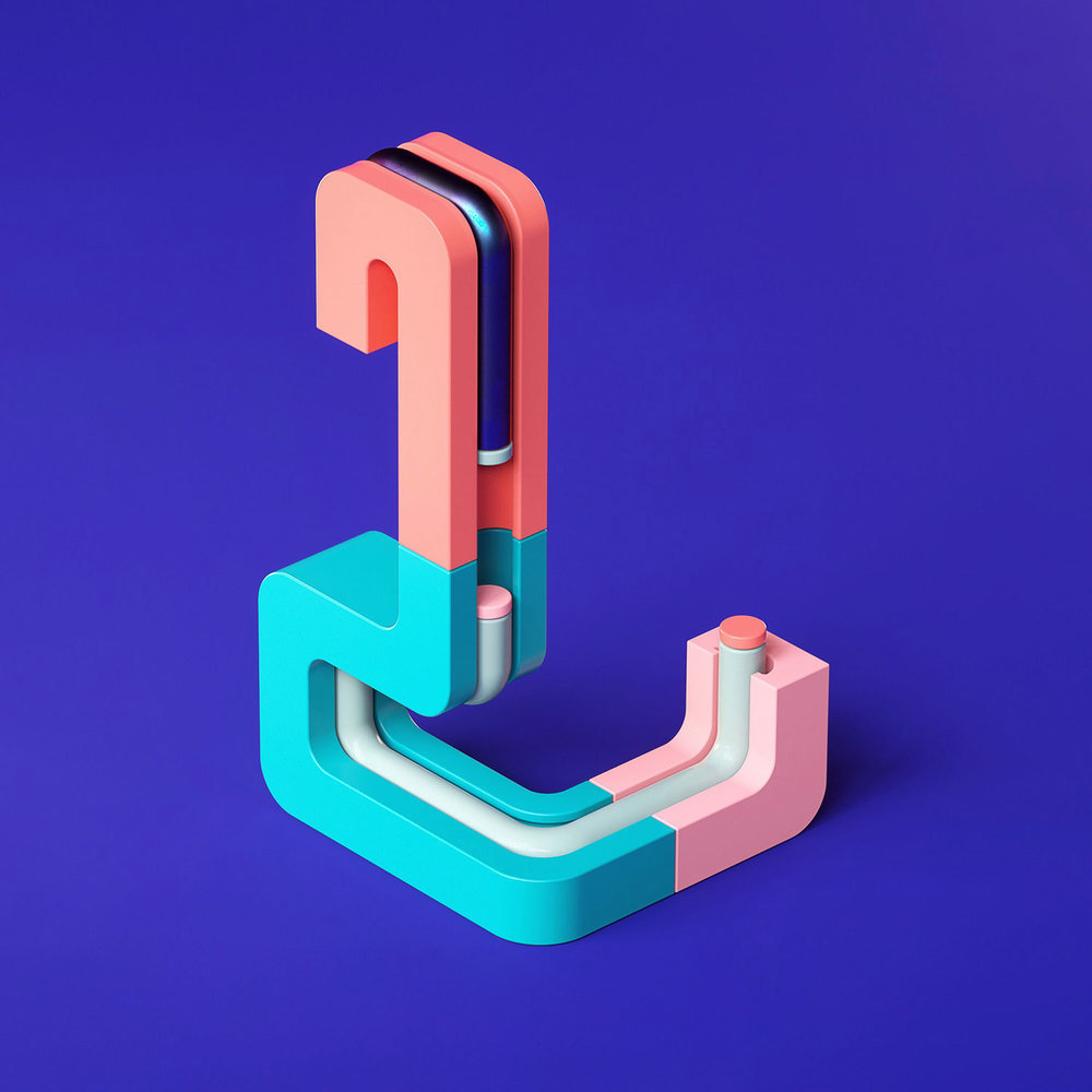 36 Days of Type 2018 - 3D letter L visual.