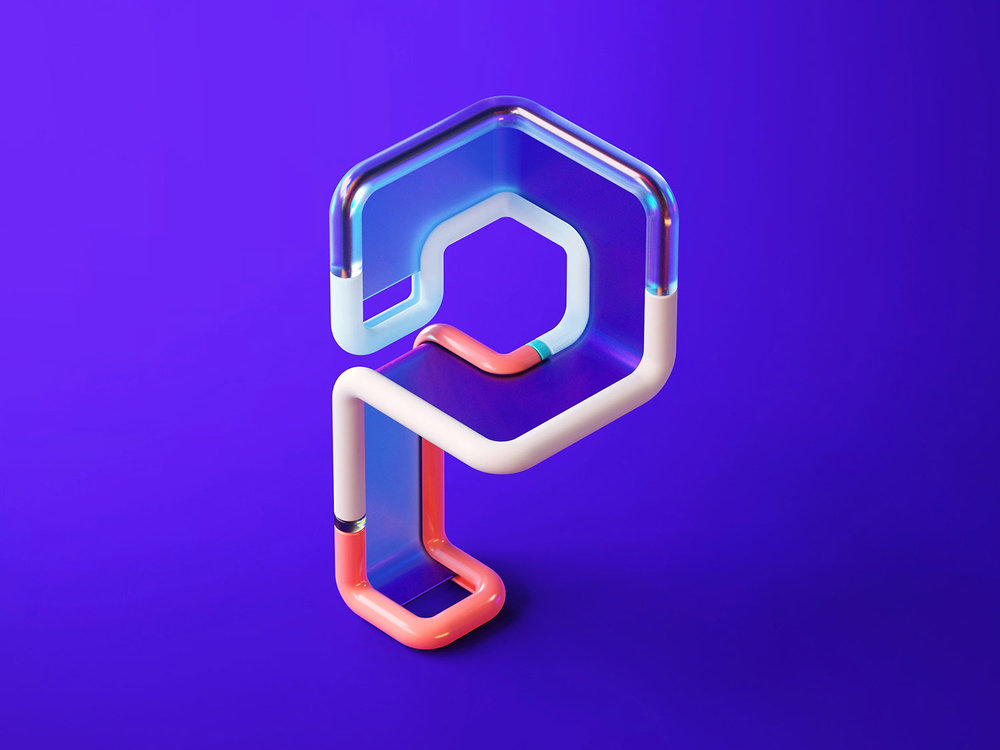 36 Days of Type 2018 - 3D letter P visual.