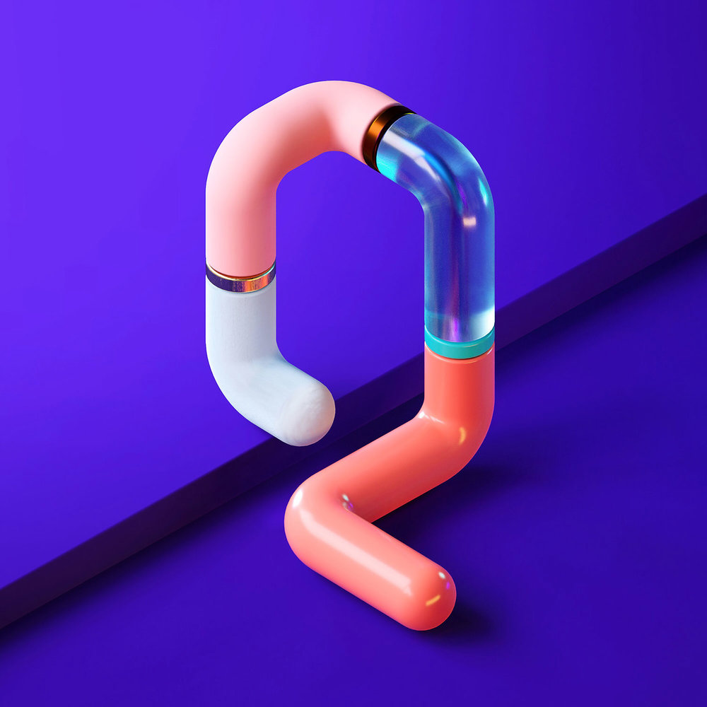 36 Days of Type 2018 - 3D letter Q visual.