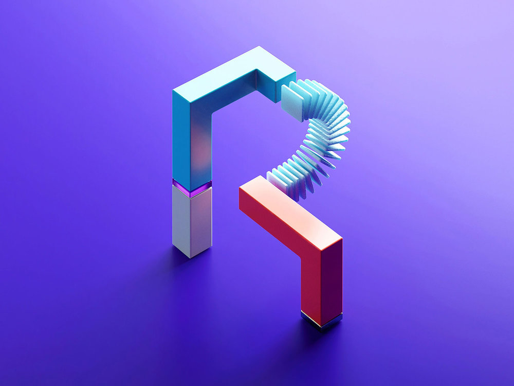 36 Days of Type 2018 - 3D letter R visual.