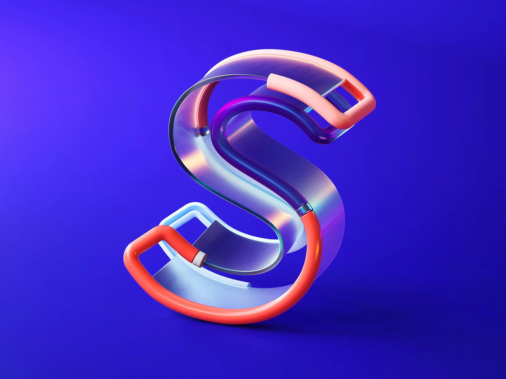 36 Days of Type 2018 - 3D letter S visual.