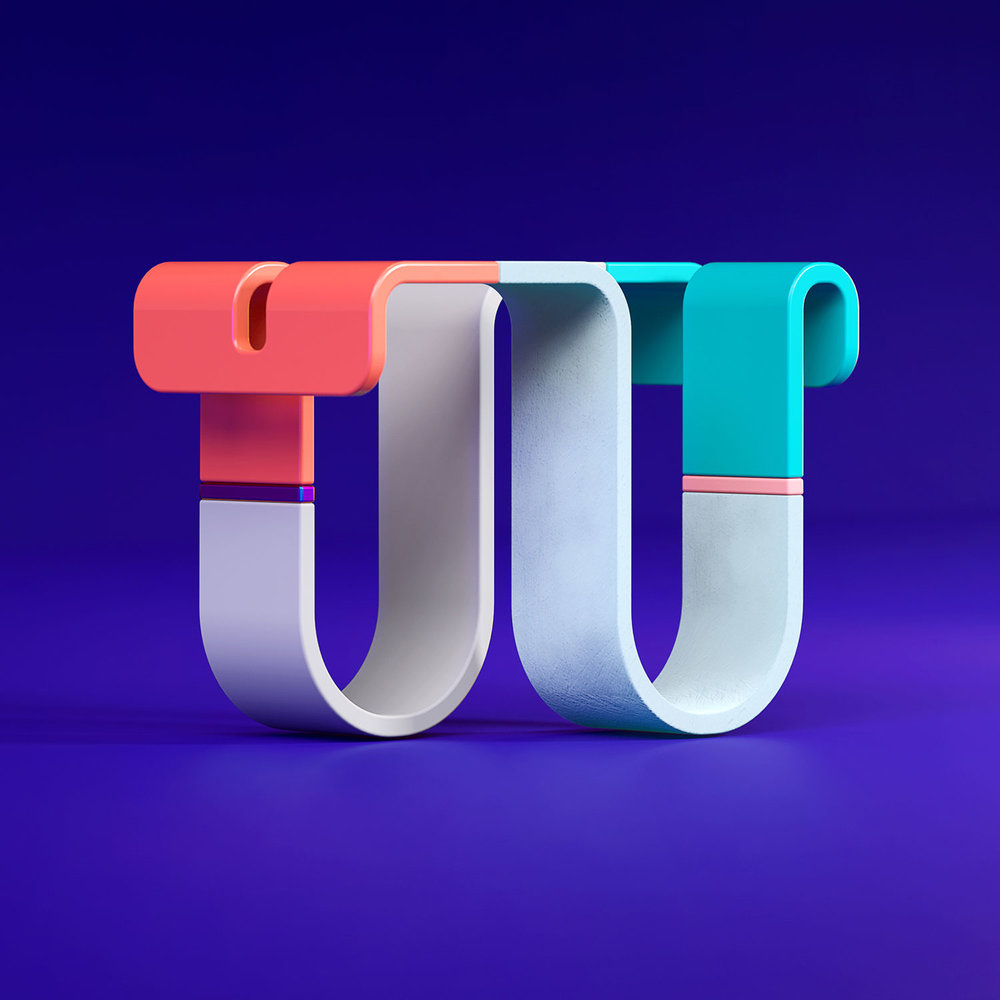 36 Days of Type 2018 - 3D letter W visual.