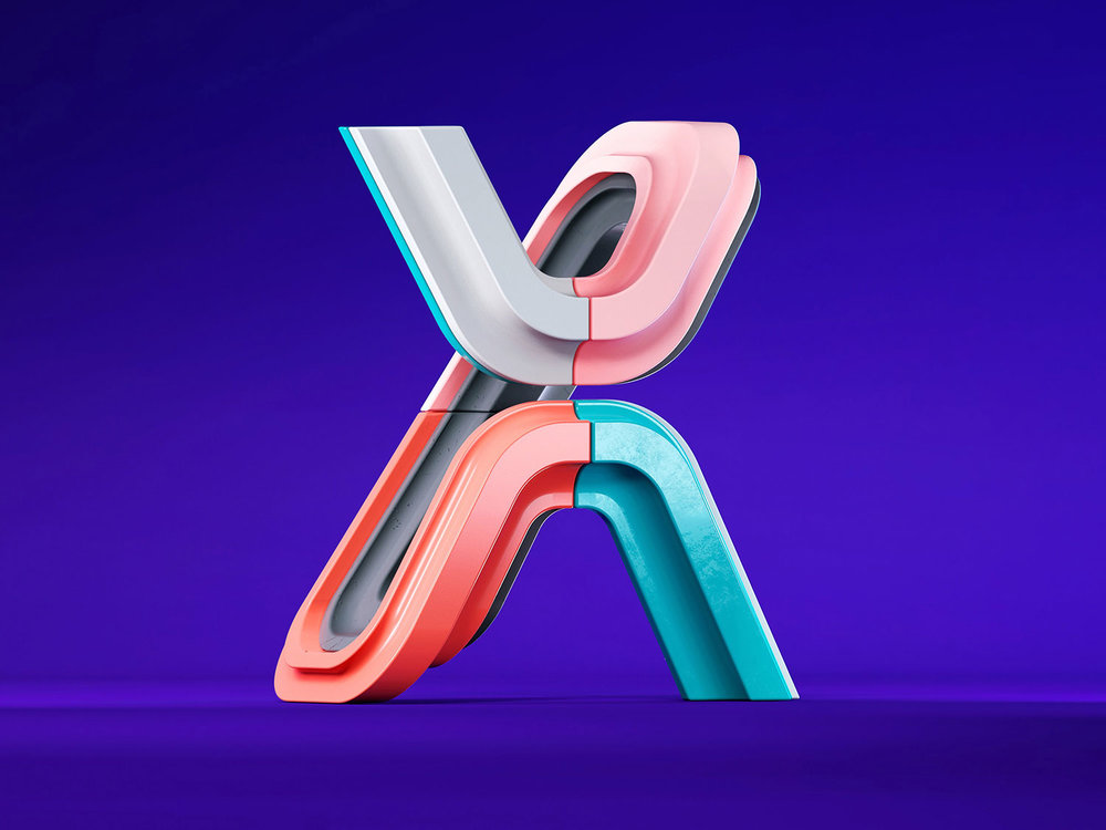36 Days of Type 2018 - 3D letter X visual.