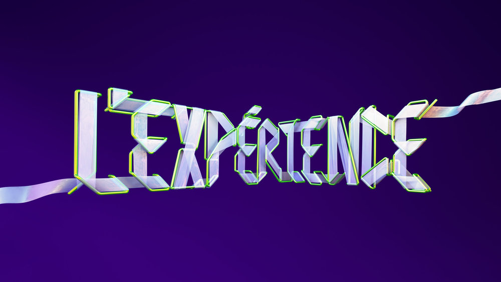 Adobe Experience - 3D typographic key visual version 2 adaptation in French.