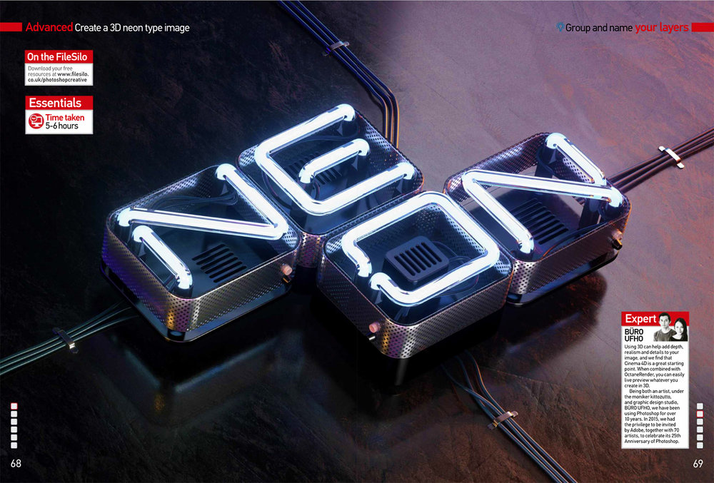 Photoshop Creative magazine - Neon Type.