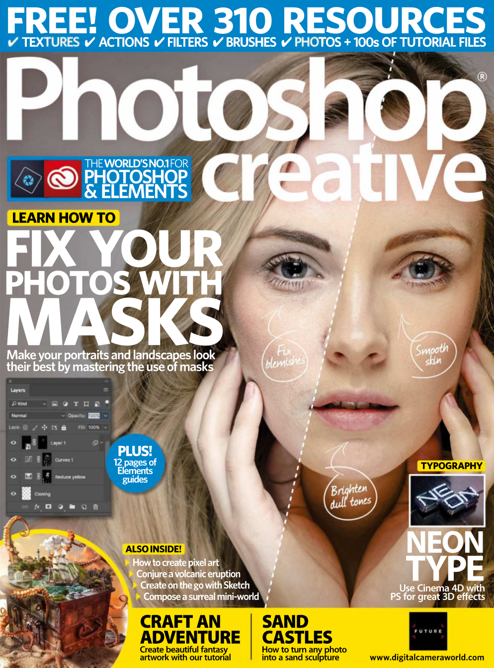 Photoshop Creative magazine - Issue 166 Cover: Use Cinema4d to create Neon type typography.