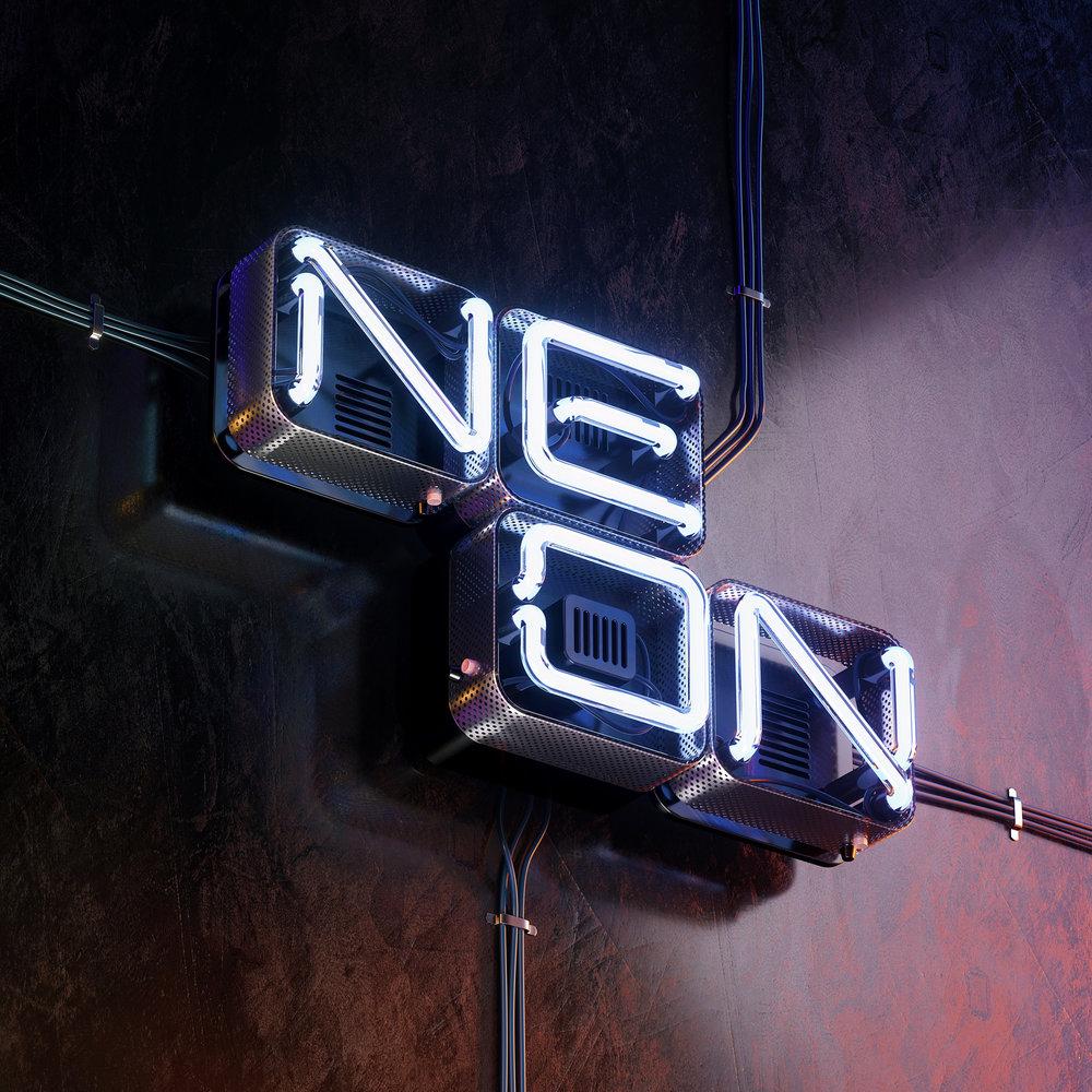 3D Neon Type - Neon tube typographic visual image.