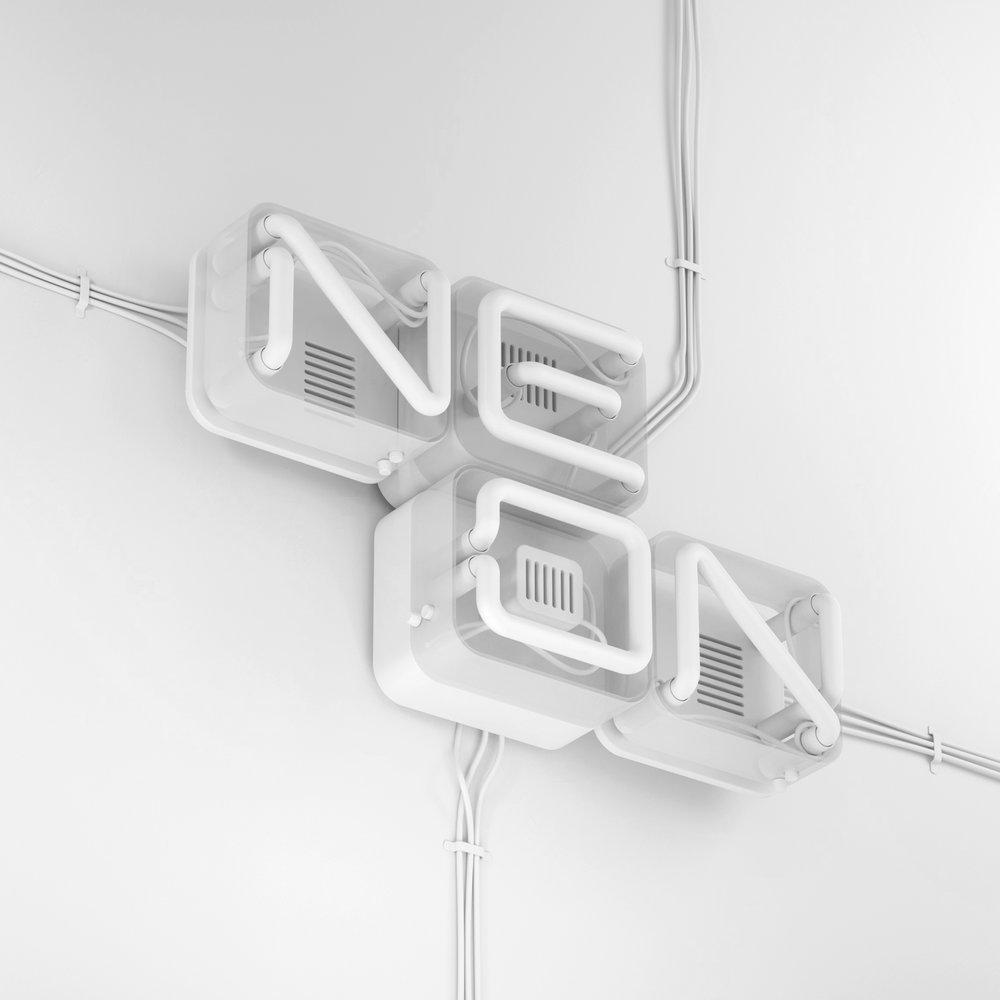 3D Neon Type - Neon tube typographic visual clay render.