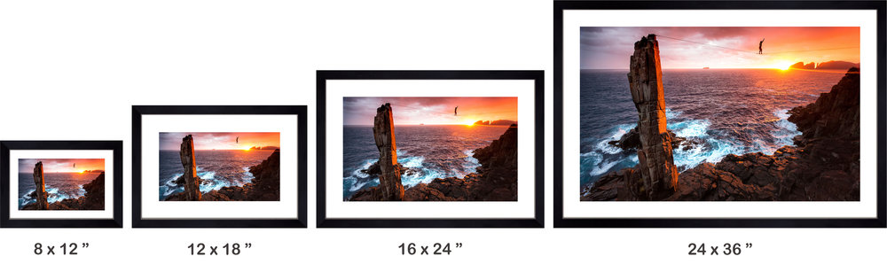 please see below for an example what will different sizes of wooden framed prints look like product images throughout the checkout are based on the 24 x