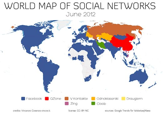 World Map of Social Net Works