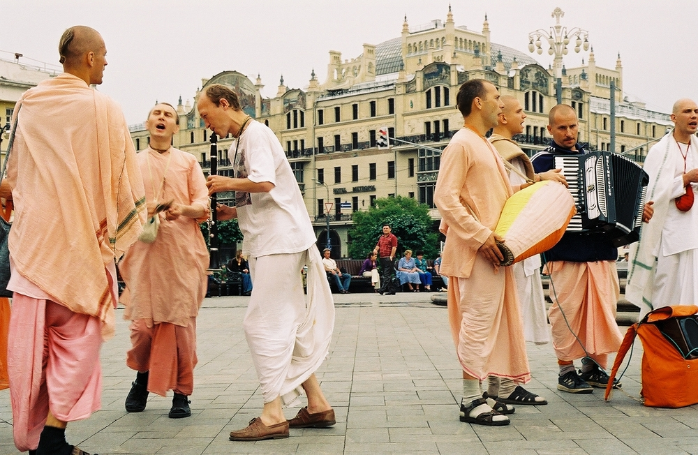 Hare krishnas outside the Bolshoi, Moscow
