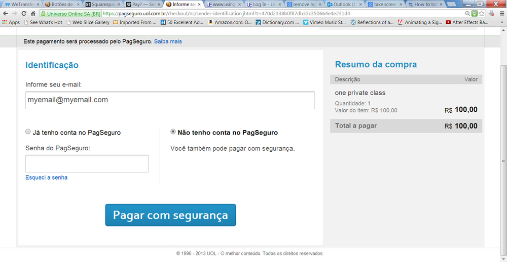 "Step 3: e-mail, select option, ""  Pagar com segurança  """