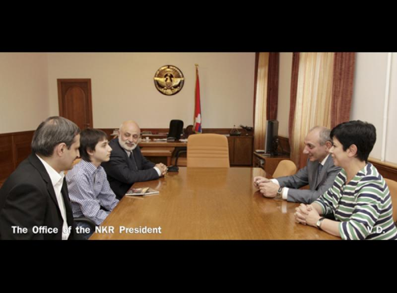 President of the Nagorno - Karabakh Republic (Artsakh) Bako Sahakyan met a young talented singer Felix Karamyan..jpg