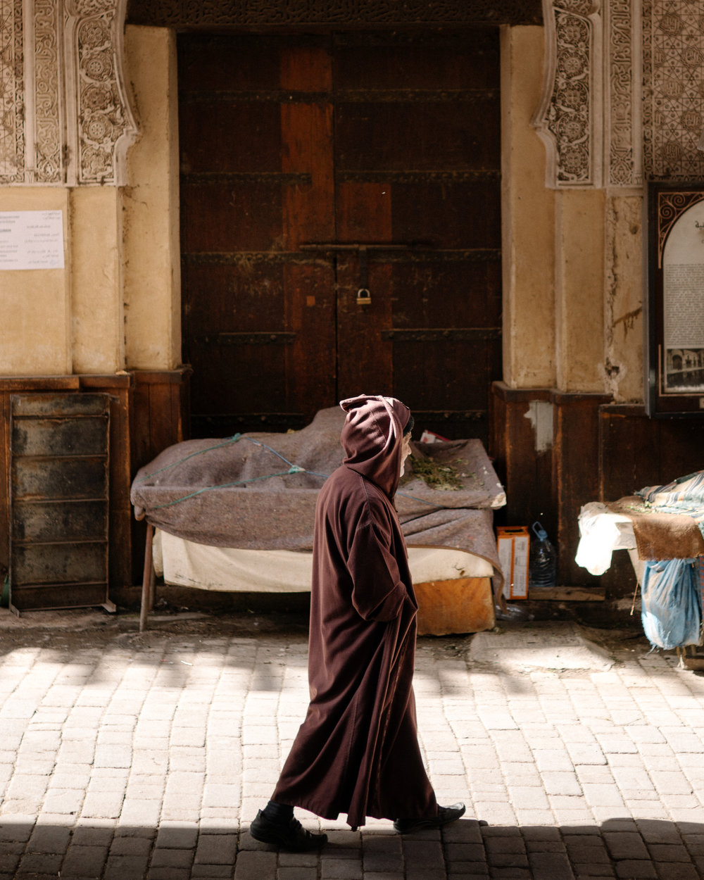 FEZ: A senior man in a traditional djellaba walks through the medina.