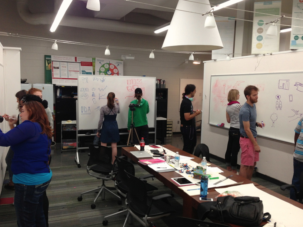 Students taking part in a visualization workshop.