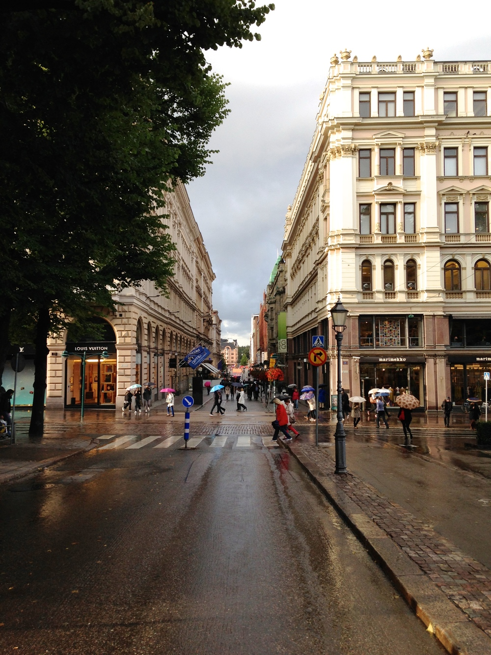 A city street—near the city center—after one of the quick rain showers