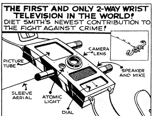 Image from  IEEE Today's Engineer   Dick Tracy's 2-way wrist television, 26 April 1964  Dick Tracy and all related indicia ® and © 2013 Tribune Content Agency.