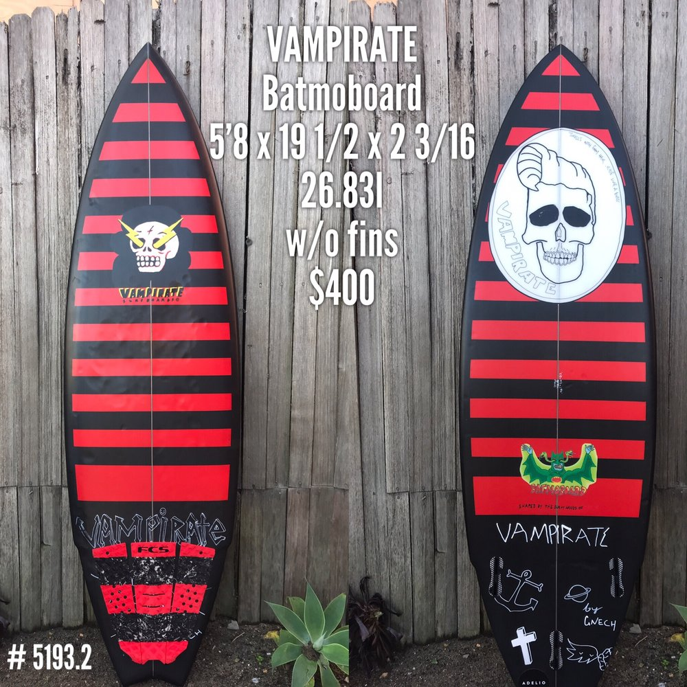 The Vampirate  Batmoboard  has been around since the beginning, it's design came from the desire to want more volume in your traditional shortboard. It's your perfect hybrid between the retro fish and your modern performance shortboard. Perfect for flying down the line and smacking lips.The Batmoboard is ideal for progressive performance surfing in all conditions. The beveled rails with extra volume offer natural speed and an easy paddle, perfect for big clean airs. The hip in the tail loosens up the board to fit in the pocket and get drained in the barrel.   Rocker Info  Medium to flat   Rail Info  Beveled   Concave Info  Single to double   Great Condition, $400 - Available to purchase in store at Progression Surf Shop