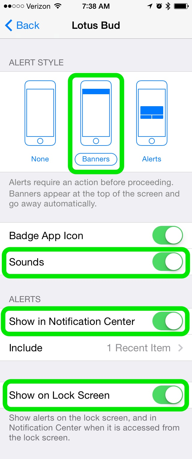 Banners, Sounds, Show in Notification Center and Show on Lock Screen should all be on.
