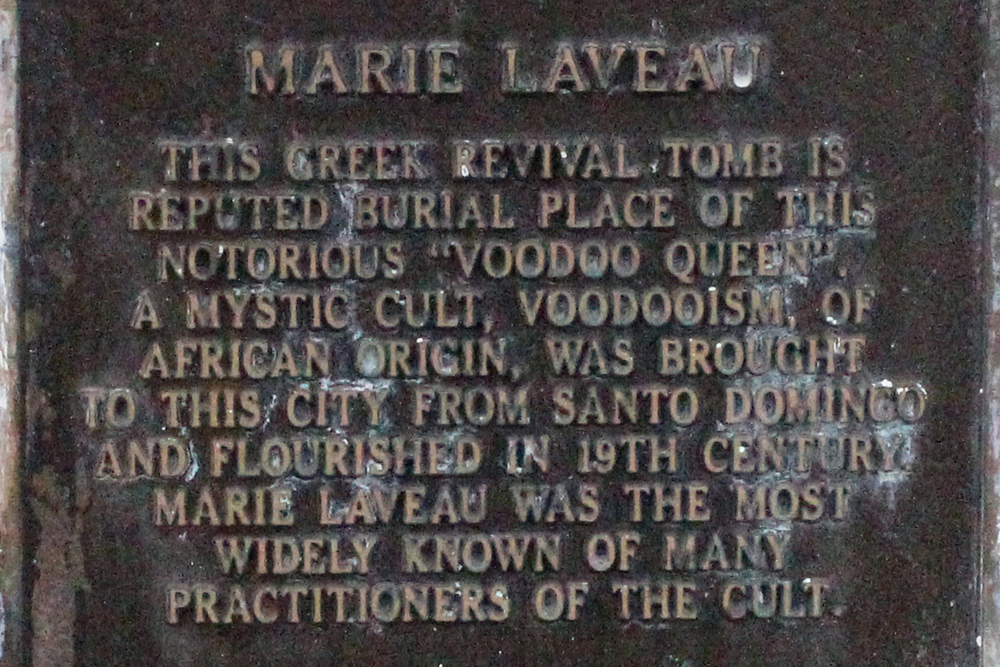 Plaque on Laveau's supposed tomb