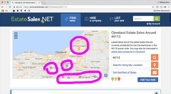 "In this screencap I have circled the locations of estate sales. The grey dots are regular estate sales and the yellow balloon shapes are ""featured"" estate sales, or ones that have paid to be promoted."