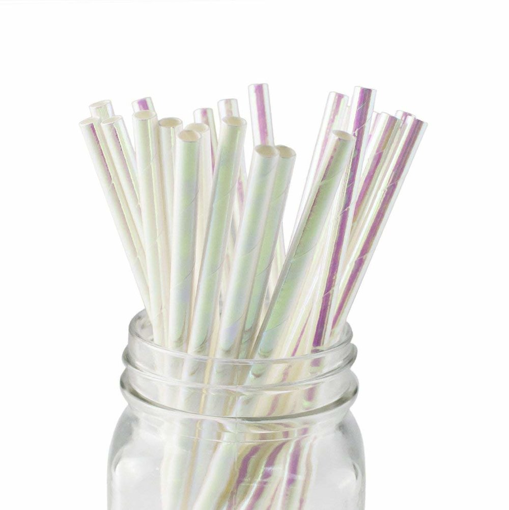 These iridescent  paper straws  are biodegradable, which means that if you're feeling fancy but lazy at the same time, there's a straw option for you.